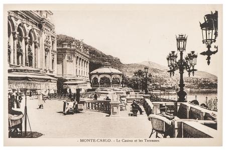 MONTE CARLO, MONACO - CIRCA 1920  vintage postcard with view of famous Grand Casino building in Monte Carlo, Monaco, circa 1920