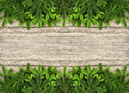undecorated: fresh christmas tree branches over rustic wooden background. green border from undecorated evergreen twigs