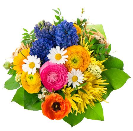 mooi boeket van diverse bloemen. Ranunculus, hyacint, madeliefje, gerber, anemoon