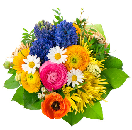 beautiful bouquet of assorted flowers. ranunculus, hyacinth, daisy, gerber, anemone