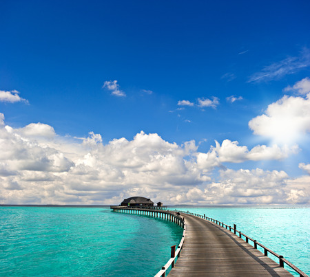 bungalow: tropical seascape  overwater bungalow Stock Photo