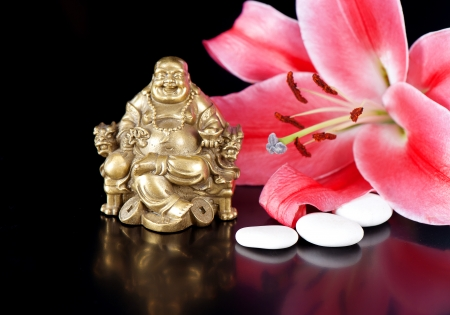buddha with stones and lily flower. spa and wellness concept Stock Photo - 24251717