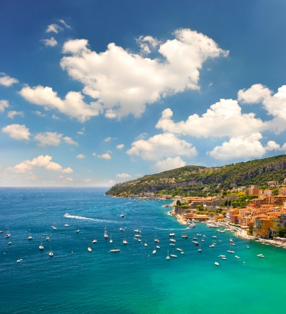 villefranche sur mer: view of luxury resort and bay of Cote dAzur. Villefranche by Nice, french riviera