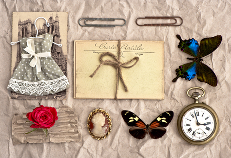 old postcards and vintage things  nostalgic scrap booking background