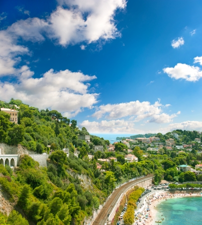 villefranche sur mer: view of luxury resort and bay of Cote d