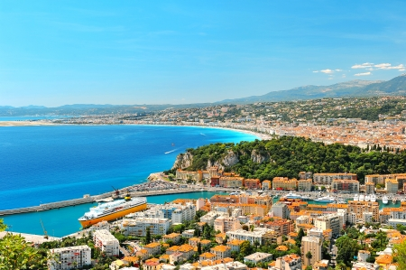 seafronts: Panoramic view of Nice, mediterranean resort, Cote d Stock Photo