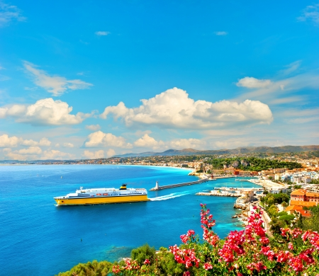 french riviera: View of mediterranean resort, Nice, Cote d