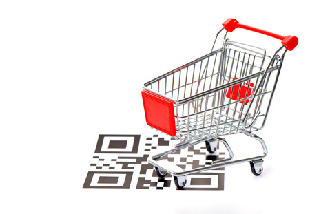 quick response: shopping concept with sample QR code and cart on white background  not working QR codes