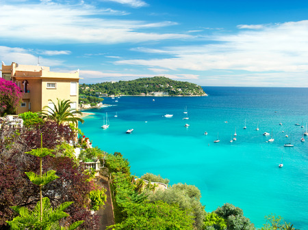boat house: beautiful mediterranean landscape, view of luxury resort and bay, french riviera, France, near Nice and Monaco
