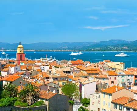 cote d'azure: View of Saint-Tropez with seascape and blue sky  France, french riviera