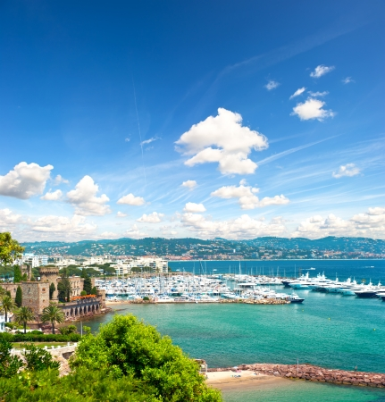 nice weather: beautiful mediterranean landscape with cloudy blue sky  view of sea and luxury resort of Cote d