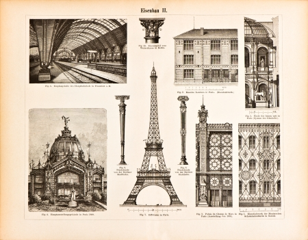 Iron constructions  Eiffel Tower  International Exhibition building in Paris  railway station in Frankfurt  Vintage illustration from Meyers Konversations-Lexikon 1894