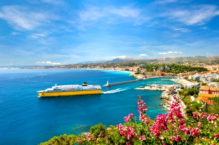 Vista del centro turístico mediterráneo, Niza, Costa Foto de archivo