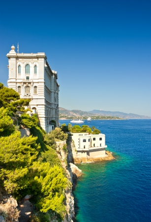 oceanographic: View from Monaco bay with Oceanographic Museum  Musée Océanographique  Editorial