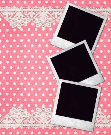 Three Old Photo Frames Over Dirty Pink White Polka Dot Background ...