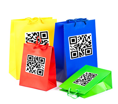 colorful shopping bags with sample product QR code   not working QR codes