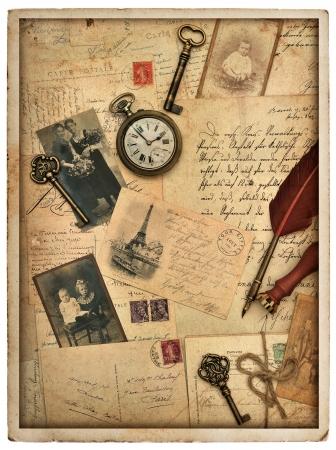 fond vintage nostalgique de style avec de vieilles cartes postales, lettres et photos Banque d'images