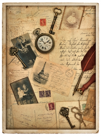 nostalgic vintage styled background with old post cards, letters and photos photo
