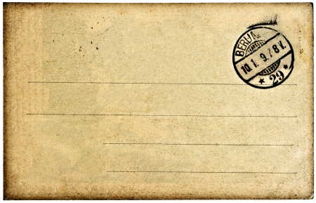 empty vintage postcard background with post stamp photo