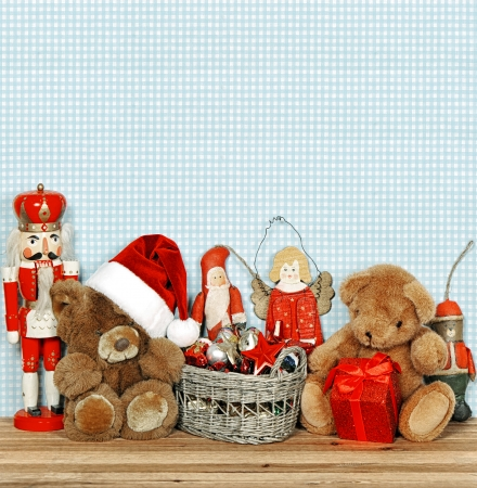 nostalgic christmas decoration with antique toys  retro style toned picture photo