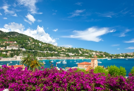 nice  france: french reviera, view of luxury resort and bay of Villefranche-sur-Mer near Nice and Monaco