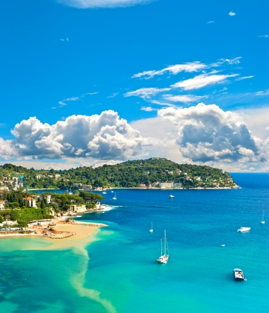 nice  france: view of luxury resort and bay of Cote d