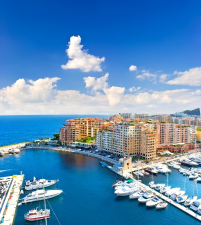 monaco: panoramic view of marina with beautiful blue sky  Fontvieille, new district of Monaco, french riviera