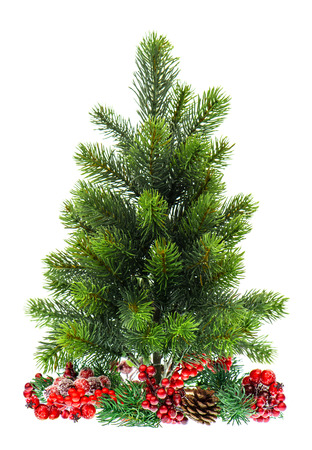 decoraton: evergreen christmas tree with red decoraton isolated on white background Stock Photo
