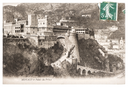 MONACO - CIRCA 1905  Exterior view of palace, official residence of Prince of Monaco  Famous place in Monaco  Antique french postcard with stamp ca  1905, Monaco