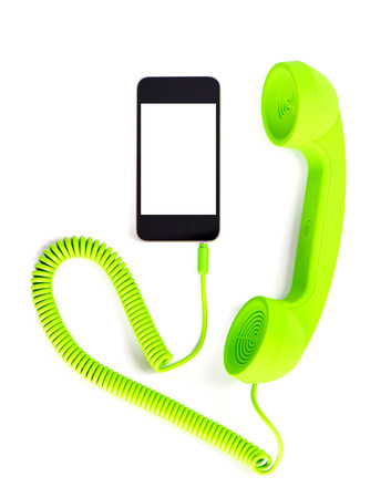 telephone handset for smart phone  on white background with place for your text Stock Photo - 24280625