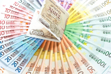 old greek drachma and euro cash notes  euro crisis concept  selective focus Stock Photo - 24280673