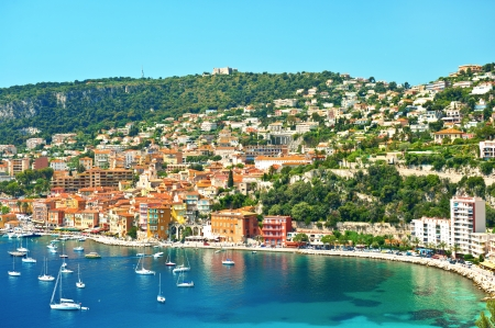 nice  france: view of luxury resort and bay on sunny day  Villefranche-sur-Mer, Cote d Editorial