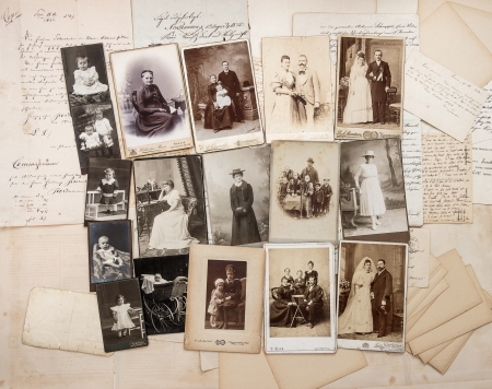old letters and antique family photos  parents, grandfather; grandmother; children  nostalgic vintage pictures from ca  1900 Editorial