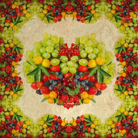 vintage background with fresh fruits and berries  frame and heart shape photo