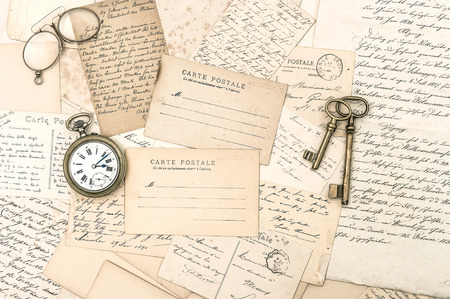 old letters and postcards, antique accessories  nostalgic sentimental background  ephemera