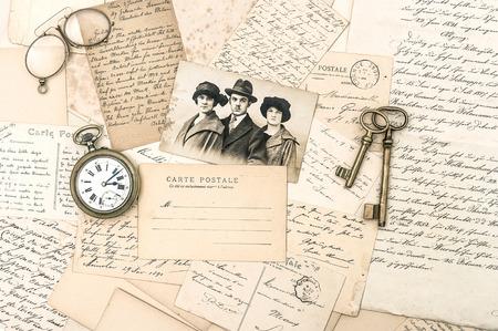 ephemera: old letters and postcards, antique accessories and photo  nostalgic sentimental background  ephemera
