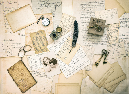 old love letters, postcards, antique accessories and vintage picture  sentimental retro style background Stock Photo