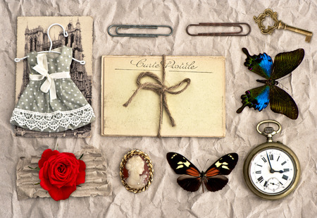 antique accessories  old postcards and vintage things  nostalgic scrapbook background photo