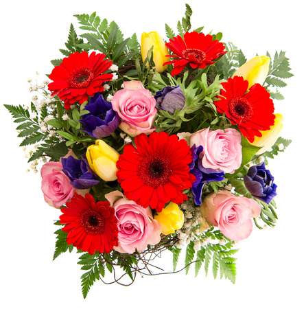 birthday flowers: fresh colorful spring flowers bouquet Stock Photo