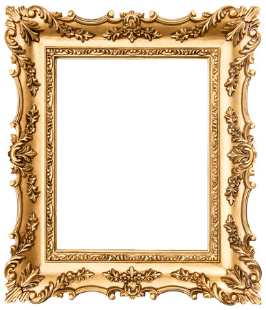 elegance: vintage golden picture frame isolated on white background