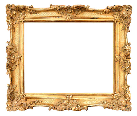 victorian style: old golden frame  beautiful vintage background Stock Photo