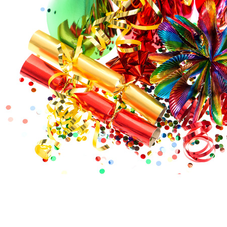 hat new year happy new year festive: colorful garlands, streamer, cracker, party hats and confetti  festive decoration