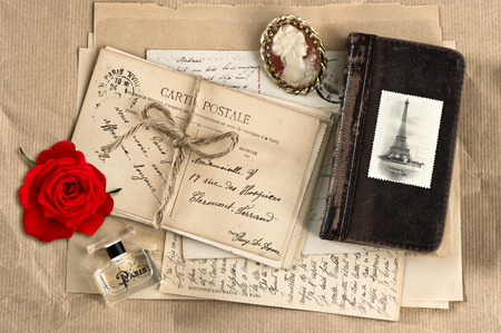 red rose, old french letters and post cards  vintage nostalgic  photo