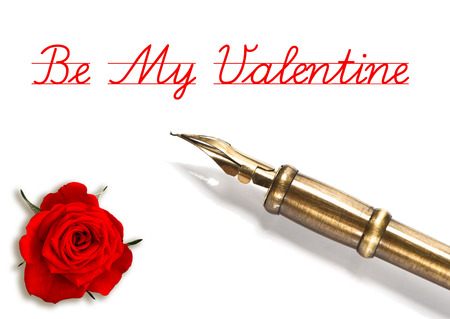 red rose and vintage ink pen isolated on white be my valentine  card concept with sample text photo