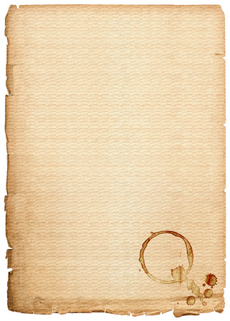 old paper sheet isolated on white background  antique book page with coffee stains photo