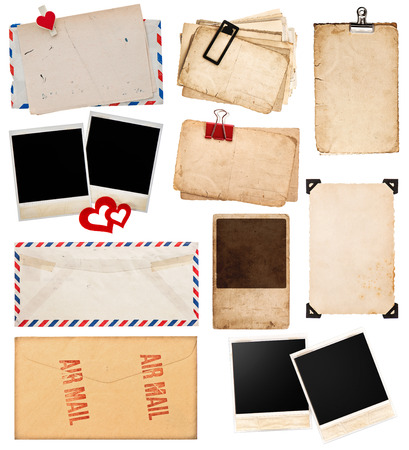 old envelope: postcards and photo frames isolated on white background  vintage paper sheets with clip  old photo cards  air mail envelope  retro design Stock Photo