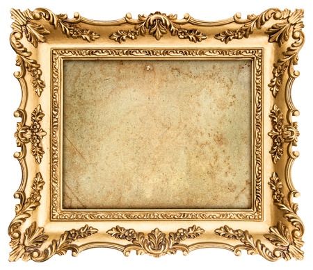 baroque frame: old golden frame with empty grunge canvas for your picture, photo, image  beautiful vintage background Stock Photo