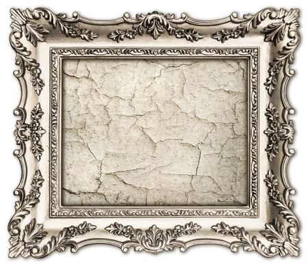 old silver frame with empty grunge canvas for your picture, photo, image  beautiful vintage background