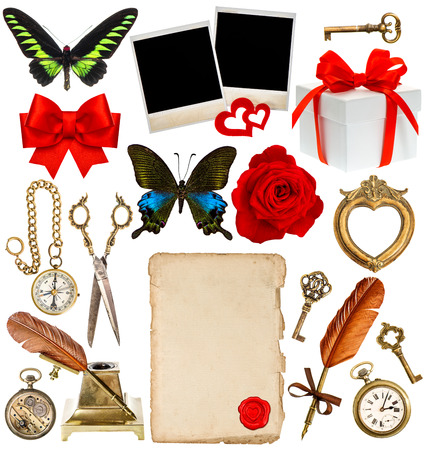 collection of various objects for scrapbook  paper page, antique clock, key, postcard, photo frame, feather pen, inkwell, glasses, compass, scissors, flower, butterfly, red ribbon bow, gift box photo