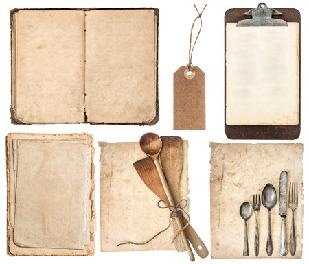 kitchen utensils, old cookbook, pages and clipboard isolated on white background  Grandma photo